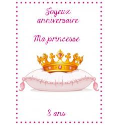 Décor Couronne Princesse pour gateau d'anniversaire comestible personnalisable