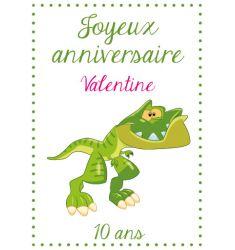 Décor Dinosaure T-rex pour gateau d'anniversaire comestible personnalisable